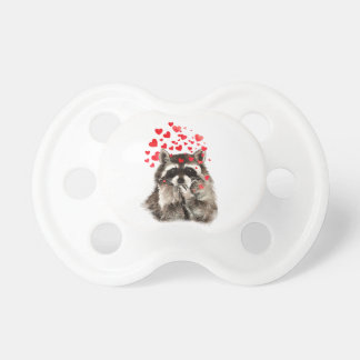 Cute Raccoon Blowing Kisses Love Hearts Pacifier