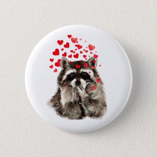 Cute Raccoon Blowing Kisses Love Hearts Pinback Button