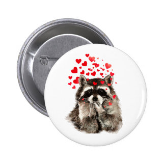Cute Raccoon Blowing Kisses Love Hearts Pinback Button