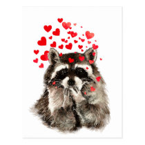 Cute Raccoon Blowing Kisses Love Hearts Postcard