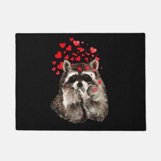 Cute Raccoon Blowing Kisses Love Hearts Welcome Doormat