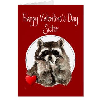 Cute Raccoon Blowing Kisses Sister Valentine Card