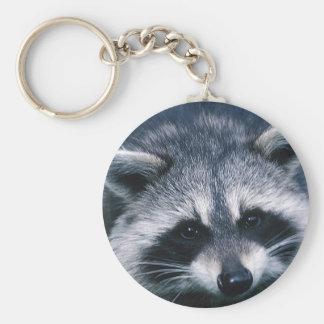 Cute Raccoon Close-Up Basic Round Button Keychain