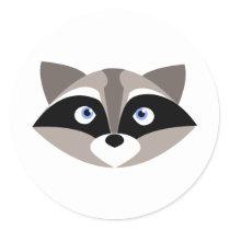 Cute Raccoon Face Classic Round Sticker