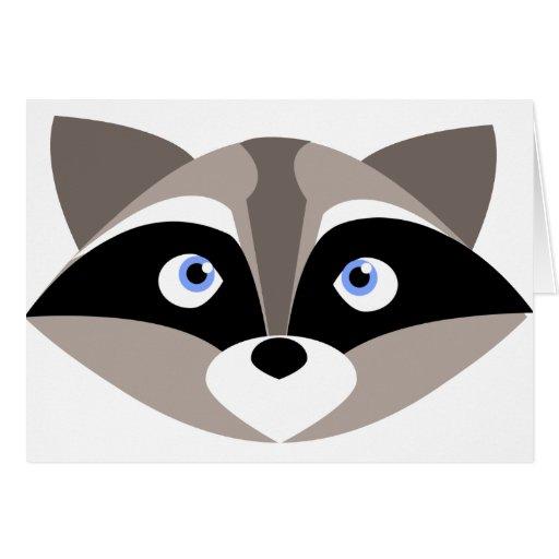 Cute Raccoon Face Greeting Cards