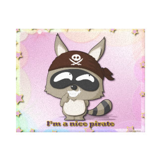 Cute Raccoon Funny Cartoon Kawaii Pirate Canvas