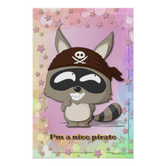 Cute Raccoon Funny Cartoon Kawaii Pirate Poster