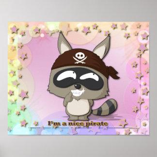 Cute Raccoon Funny Cartoon Kawaii Pirate Poster