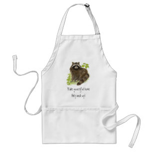 Cute Raccoon, Help Wash up, Animal Adult Apron