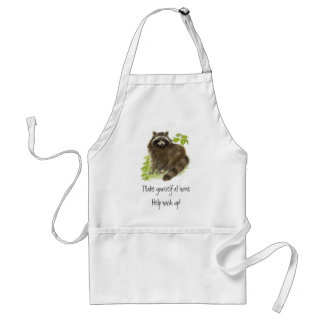 Cute Raccoon, Help Wash up, Animal Adult Apron