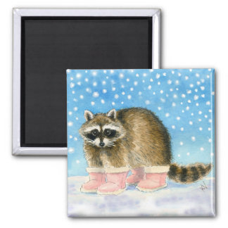 Cute raccoon in pink snow boots 2 inch square magnet