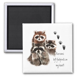 Cute Raccoon left footprints on my heart, humor 2 Inch Square Magnet