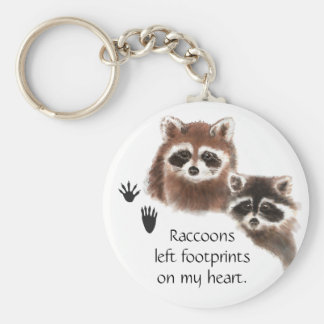 Cute Raccoon left footprints on my heart, humor Basic Round Button Keychain