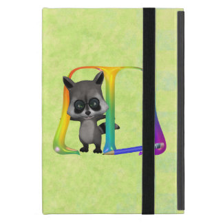Cute Raccoon Monogram M iPad Mini Case