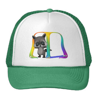 Cute Raccoon Monogram M Trucker Hat