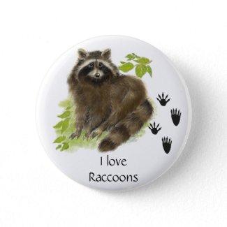 Cute Raccoon Nature button