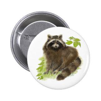 Cute Raccoon Nature Pinback Button