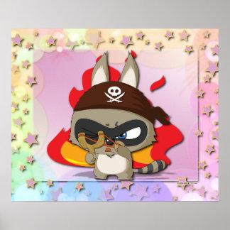 Cute Raccoon Pirate Funny Cartoon Slingshot Poster