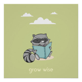 Cute raccoon reading to book baby room green poster
