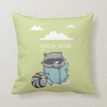 Cute raccoon reading to book. Green children Throw Pillow