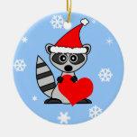 Cute Raccoon Santa Hat Christmas Ornament