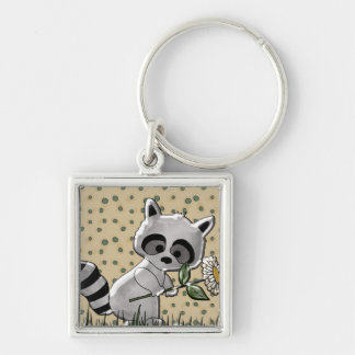 Cute Raccoon Square Key Chain
