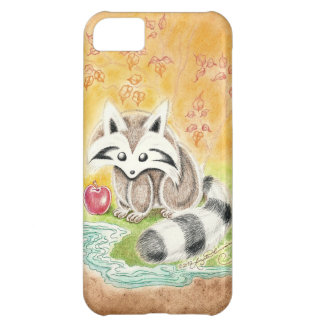 Cute raccoon with red apple near pond case for iPhone 5C