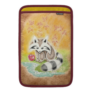 Cute raccoon with red apple near pond sleeve for MacBook air