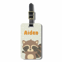 Cute Raccoon Woodland Personalized Luggage Tag
