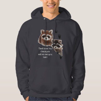 Cute Raccoons hand over Chocolate, Humor Pullover