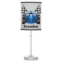 Cute racecar flags add name boys room lamp
