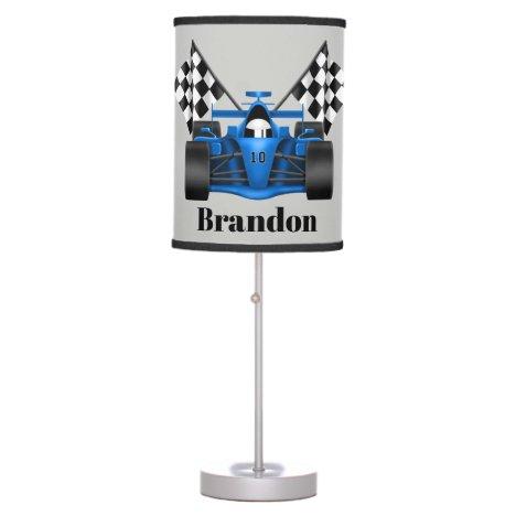 Cute racecar flags add name boys room lamp