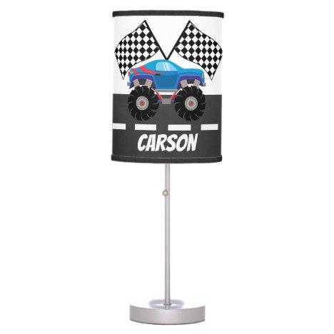 Cute racing car add name boys decor table lamp