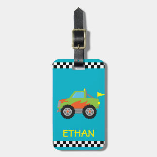 Cute Racing Green Monster Truck for Boys Bag Tag
