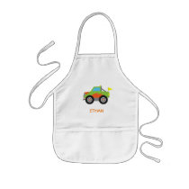 Cute Racing Green Monster Truck for Boys Kids' Apron