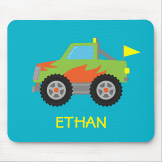 Cute Racing Green Monster Truck for Boys Mousepad