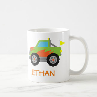 Cute Racing Green Monster Truck for Boys Classic White Coffee Mug