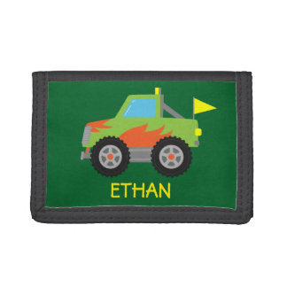 Cute Racing Green Monster Truck for Boys Tri-fold Wallets