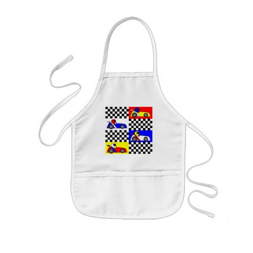 Cute Racing Print - Checkered with Red Blue Yellow Aprons