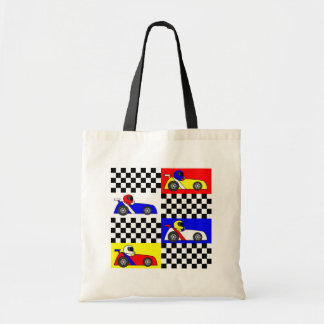 Cute Racing Print - Checkered with Red Blue Yellow Budget Tote Bag