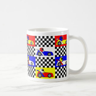 Cute Racing Print - Checkered with Red Blue Yellow Coffee Mug