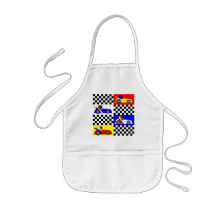 Cute Racing Print - Checkered with Red Blue Yellow Kids' Apron