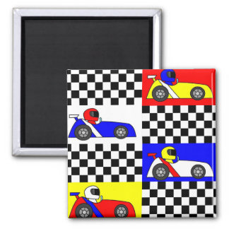 Cute Racing Print - Checkered with Red Blue Yellow Magnet
