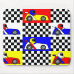 Cute Racing Print - Checkered with Red Blue Yellow Mousepad