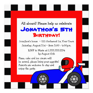 Cute Racing Themed Childrens Birthday Personalized Announcements