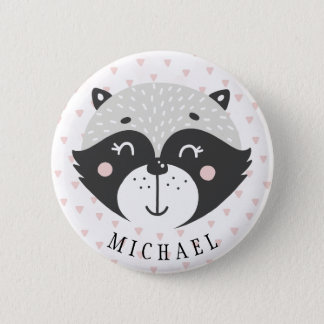 Cute Racoon Kids Birthday Favor Name Button
