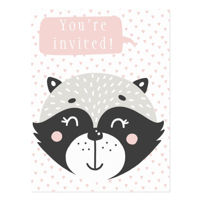 Cute Racoon Kids Birthday Invitation Postcard