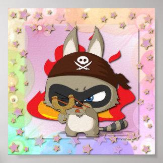 Cute Racoon Pirate Funny Cartoon Slingshot Wallart Poster