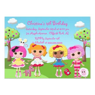 Cute Rag Doll Birthday Party Invitations