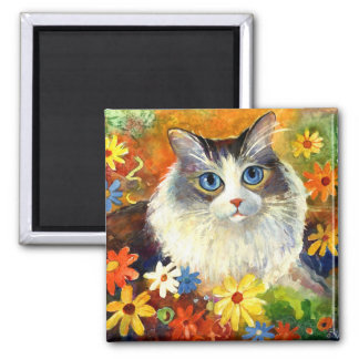 Cute Ragdoll Cat with flowers 2 Inch Square Magnet
